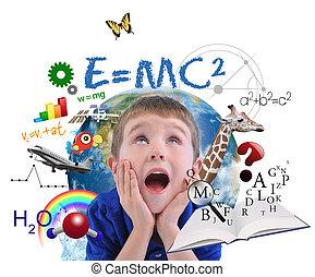 pojke, vit, utbildning, skola, inlärning