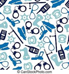 polis, mönster, seamless, illustration, utrustning, vektor