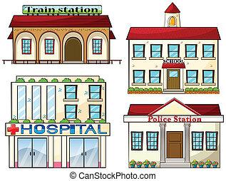 polis, skola, tåg, sjukhus, station, station