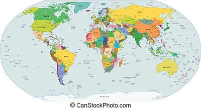 politisk, global, karta, värld