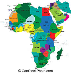 politisk, karta, afrika