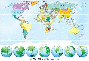 politisk, karta, värld