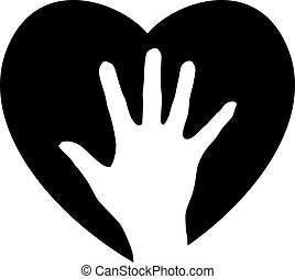 portion, hjärta, hand