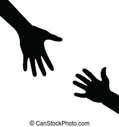 portion, silhuett, hand