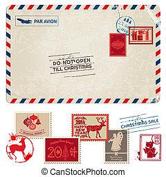 porto, vykort, årgång, -, jul, frimärken, vektor, urklippsalbum, design