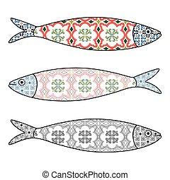 portugisisk, tegelpanna, färgad, patterns., illustration, traditionell, vektor, sardinen, icon., typisk