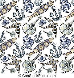 portugisisk, tegelpanna, vektor, färgad, viana's, ikonen, pattern., patterns., seamless, kollektion, hjärta, sardinen, svälja, illustration, traditionell, gitarr, ankare, typisk