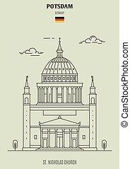 potsdam, kyrka, germany., gränsmärke, nikolaus, ikon, st.