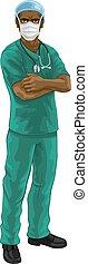 ppe, sköta, läkare, läkar skurar, likformig, eller
