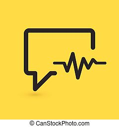 pratstund, bakgrund., vektor, medicin, kardiogram, släkt, icon., isolerat, gul, talande, illustration, bubbla