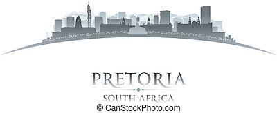 pretoria, sydafrika, bakgrund, horisont, stad, silhuett, vit