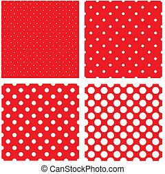 pricken, mönster, vit, polka, röd