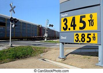 pris, station, gas, underteckna