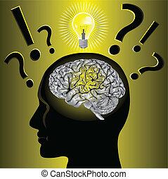 problem, hjärna, lösning, idé