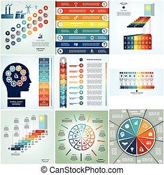 processer, cyclic, placerar, åtta, infographics, nio
