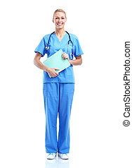 professionell, medicinsk, kvinna, läkare.
