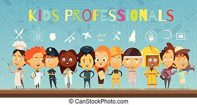 professionelle, tecknad film, lurar, kostymer, komposition