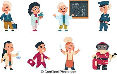professions., läkare, olik, barn, likformig, lurar, affärsman, leka, tecken, söt, flickor, tecknad film, cook., pojkar, klätt, vektor, ockupation, arbetare