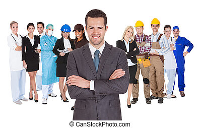 professionsen, olik, vit, arbetare, tillsammans