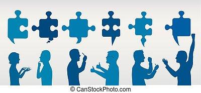 profil, blå, begrepp, success., affärsfolk, solution., problem, lösning, pieces., strategi, färg, team., klient, grå, problem, gesturing, service.