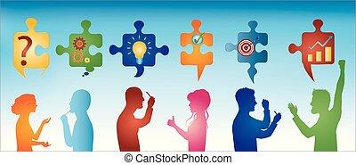 profil, blå, symbols., färgad, affärsfolk, solution., problem, lösning, success., styckena, team., begrepp, klient, bakgrund, gesturing., problem, strategi, service.