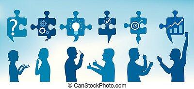 profil, blå, symbols., success., affärsfolk, solution., problem, lösning, styckena, färg, team., begrepp, klient, problem, strategi, gesturing, service.