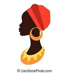 profil, earrings., flicka, silhuett, afrikansk