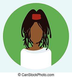 profil, runda, avatar, amerikan, kvinna vett, afrikansk, ikon, kvinna