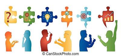 profil, symbols., färgad, affärsfolk, solution., problem, lösning, styckena, team., begrepp, klient, gesturing., problem, strategi, service, success.