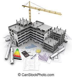 projekt, översikt, konstruktion