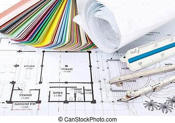 projekt, arkitekt, begrepp, design, teckningar