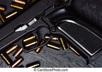 projektiler, gevär, svart, tabell.