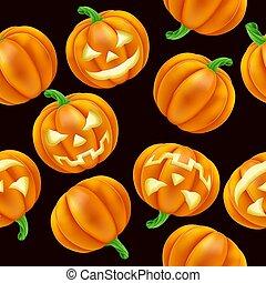 pumpa, mönster, halloween, seamless, bakgrund