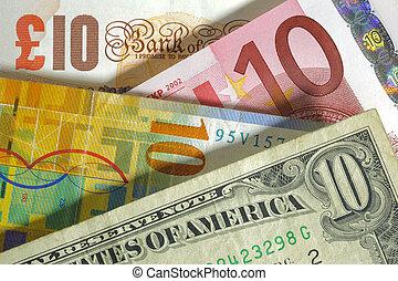 pund, england, franc, usa, valuta, dollar, euro, europa, schweizisk
