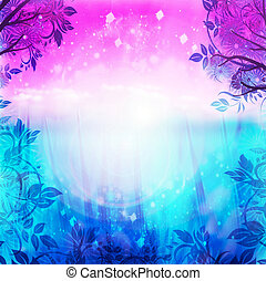 purpur, blåttbakgrund, fjäder