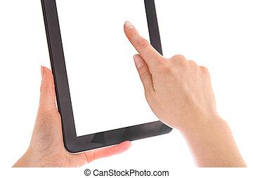 räcker, grej, kompress, isolerat, dator, touch-screen, mänsklig