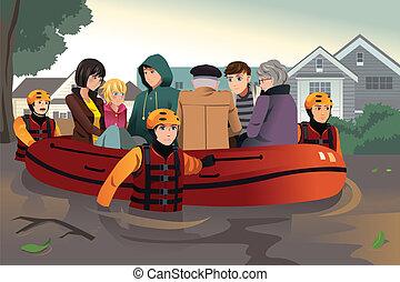 rädda, folk, portion, lag, under, översvämning