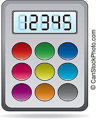 räknemaskin, vektor, färgrik