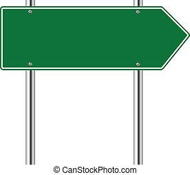 rättighet, grön, väg, pilen undertecknar