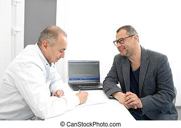 råder, urologist, tålmodig, läkare, klinik, manlig