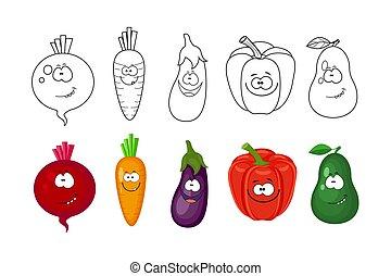 rödbeta, sidor, bok, grönsaken, tecknad film, kids., set., kolorit