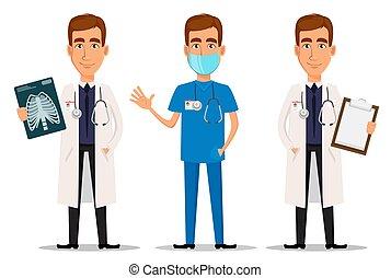 röntga, professionell, vinka, hand, läkare, skott, sätta, skrivplatta, ung