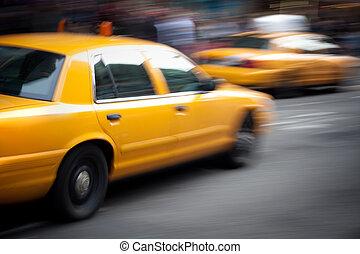 rörelse, fortkörning, förarhyttar, gulingen taxar, fläck