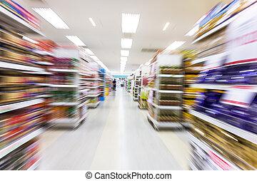 rörelse, tom, fläck, gång, supermarket