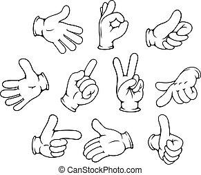 rörelser, sätta, tecknad film, hand