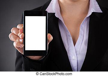 rörlig telefonera, visande, businessperson