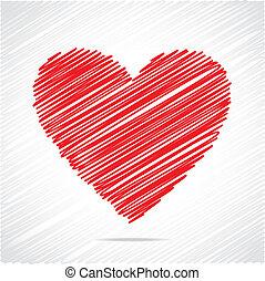 rött hjärta, skiss, design