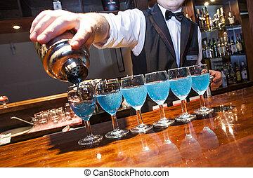 rad, nej, bartender, barman., bartrender, shaker, relase., glasögon, hand, hinder, behov, blå, fragment, synbar, flytande, disk, färgad, modell, drycken