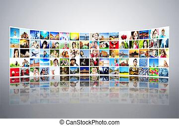 radioprogram, vid, nymodig, bilder, multimedia, skärmen, formning, ordningsmanen, röja
