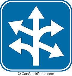 rak, rättighet, vänster, vägmärke
